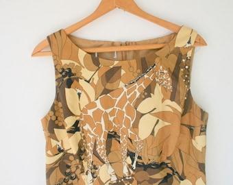 Vintage SAFARI Giraffe Dress...size medium to large....mod. sleeveless. 80s dress. designer vintage. 1980s. safari. giraffe. jungle. brown