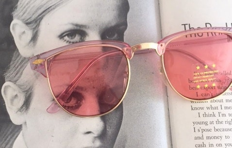 05466d16c58 Vintage PINK CLUBMASTER Sunglasses.retro. colorful shades. urban. hipster.  gold.