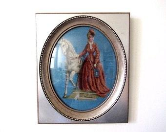 Vintage X stitch, Oval framed X stitch, Dome Bubble Framed Cross Stitch, Edwardian Lady, Horse cross stitch, boudoir picture, Regency decor