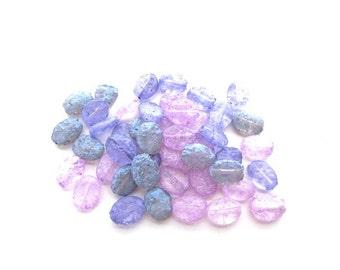 45 Flat Glass Oval Iced Beads