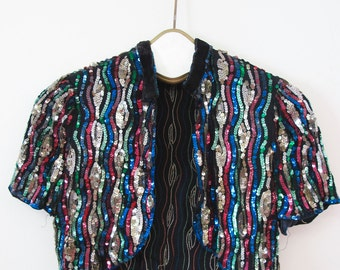 1930s Multi Color Sequin Jacket AS IS