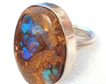 SUMMER SALE Boulder Fire Opal sterling silver ring