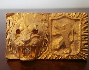 2 Fingers Gold Lion Bling Ring