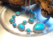 Turquoise  Reconstructed Pendant Necklace