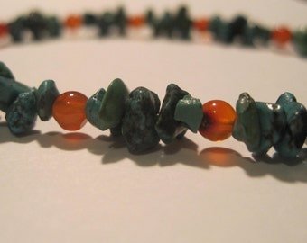 Turquoise and Carnelian Anklet