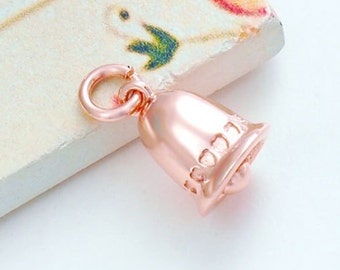 1 of 925 Sterling Silver Rose Gold Vermeil Style Bell Charm 8.5x9 mm  :pg0098