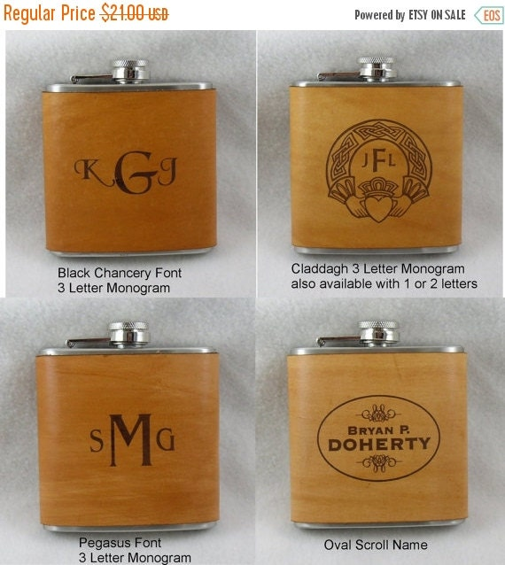 20% OFF SALE Monogrammed Flask with Hand Dyed Engraved Leather Wrap