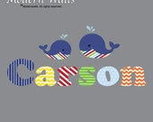 Name Wall Decal-Whale Wall Decal-Nautical Room Decor-Pattern Letters-Nursery Wall Decals Stickers