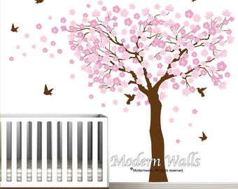 Cherry Blossom Tree Wall Decal-Tree with Flowers-Humming Birds-Blowing Tree Decal-Nursery Wall Sticker-e42