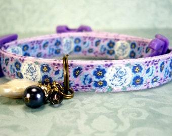 Safety Cat Collar - Breakaway Collar - Toy Dog Collar - Small Dog Collar - White Roses Collar - Gemstone Charm Collar