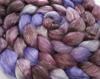 Merino/Tencel Roving - 50/50 - 4 oz - Burgundy, Wine, Violet and Silver Grey