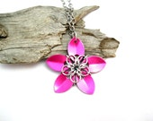 Pink Flower Necklace - Pendant Necklace - Chainmaille Pendant - Scale Maille Pendants - Chain mail - Chainmail Jewellery - Chainmail