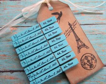 French Script Clothespins, Paris Clothespins, Blue Paris Clothespins, Cottage Chic, Photo Clips, Stamped Clothespins, French Cottage