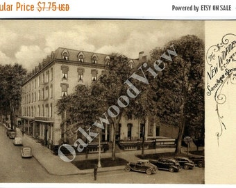ON SALE Saratoga Springs NY Worden Hotel Postcard, New York State, Broadway & Division Street Scene, Antique Sepia Ephemera c1915, Free Ship