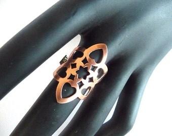 Boho Ring, Bohemian ring, copper ring, wide ring, long ring, long copper ring, star, wide copper ring, pattern ring, copper pattern ring,