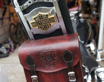 Hand Carved Leather Sissy Bar Bag