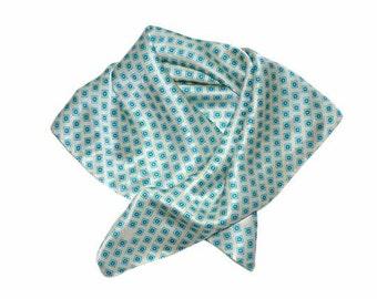 Vintage silk scarf  turquoise