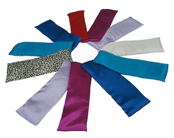 Wholesale 10 Aromatherapy Lavender Eye Pillows (with Gift Boxes) Herbal Hot/Cold Microwave Heat Bag 11 x 4 Silky Cover
