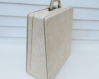 Vintage Typewriter Case, Travel Case, Old Suitcase, Off White Suitcase, Tote Bag