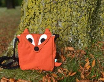 Little Fox small messenger bag, orange fabric and tan lining,fall fashion