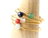 Tiny Ball Stone Ring / gold color, faceted ball stone