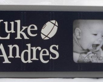 Football Nursery, Personalized Baby Nursery Photo Frame gift, Navy Blue and Gray, Baby Boy Sports Decor, Photo Frame Custom Order - Football