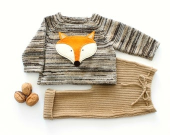 Knitted baby set. Sweater and ribbed pants. Brown, camel, pearl. Felt fox. 100% wool. READY to SHIP size NEWBORN.