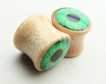 Wood Plugs, Wooden Plugs, Eye Plugs, Eyeball Plugs Saddle Plugs, Body Jewelry, Ear Stretchers, Body Mods, Body Modification, Maple Wood