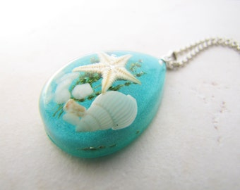 Seashell Necklace, Starfish Necklace, Shell Necklace, Ocean Necklace, Beach Necklace, Mermaid Necklace, Resin Necklace, Star Necklace