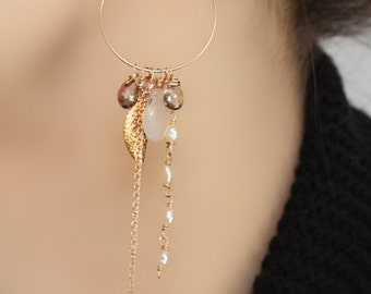 Long Hoop Freshwater Pearl, Gem Stone and Gold Leaf Statement Earrings