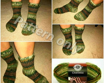 Thick and Chunky and Warm Crochet Sock Pattern ONLY
