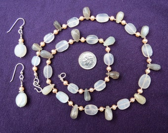 Moonstone Briolettes & Cultured Pearl Necklace Earrings Set