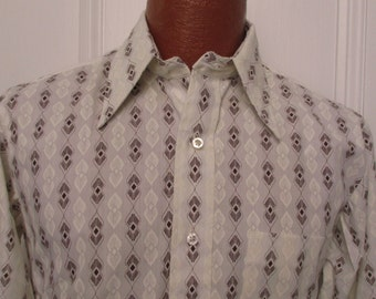 70's Vintage Men's Mod Pattern Disco Shirt Shirt deadstock 14/32