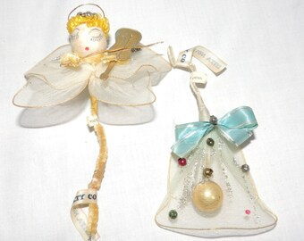 Christmas Ornaments Angel and Bell / Delta Novelty Company / Angel Christmas Ornament / Bell Christmas Ornament / Christmas Decoration