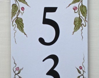 House Number Tile, Vertical, Address Plaque, House Numbers, Olive Green, Green or Brown House Sign