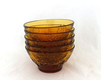 Vintage set 1960s 1970s flower pattern pressed amber orange glass dessert bowls
