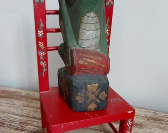 Mexican Folk Art Frog with his Drum sitting on Chair Hand Painted Wood