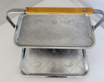 Mid Century Modern Aluminum and Bakelite Tray Caddy