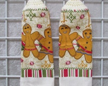 Pair of Button-On Gingerbread Men Towels