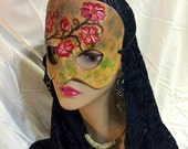 On Sale! Spring Maiden Masquerade Leather Mask - Flower Branch - handmade venetian mardi gras halloween wearable art burning man renaissance