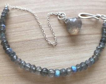 Labradorite Bracelet Sterling Silver Chain Simple Bracelet Simple Grey Stone Natural Stone Bracelet