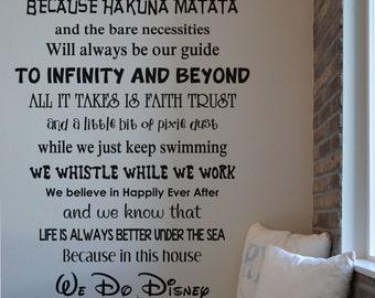 In this house Disney RC111 vinyl wall lettering sticker decal home decor Walt Disney we do Disney