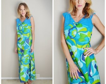 Vintage 60s Stan Hicks Hawaiian Blue Green Floral Maxi Luau Dress // womens size 4/6