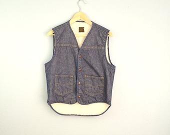 Vintage 70s Jean Denim Vest with Faux Sherpa // Roebucks // unisex small