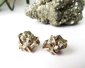 Pyrite Raw Gemstone Earrings - Rustic Natural History Specimens