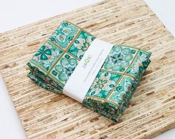 Large Cloth Napkins - Set of 4 - (N4220) - Green Teal Tile Modern Reusable Fabric Napkins