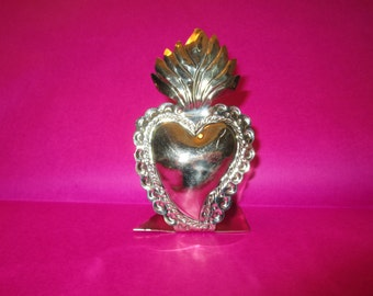 Pewter Sacred Heart Milagro business card holder