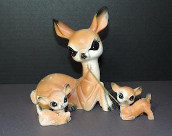 Vintage Ceramic Deer and Fawns  Kitchy Decor Chain Deer Momma Deer Fawns Figurines Ceramic Deer Big Eyed Deer