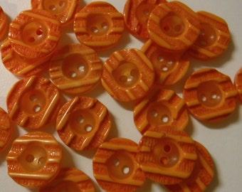 """10 Orange Tangerine Stripe Round Buttons Size 11/16"""""""