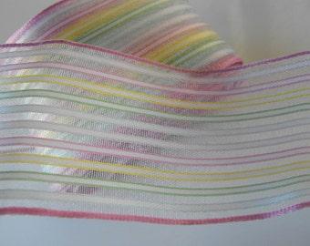Pastel Striped wire Edge Ribbon 4 Yards